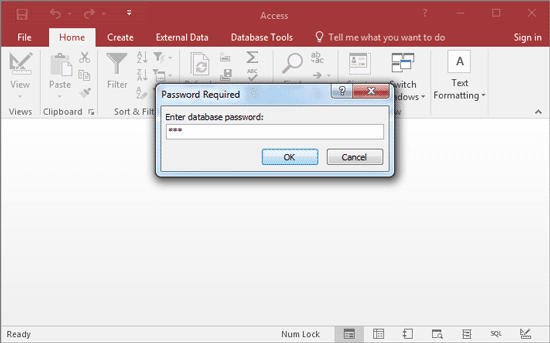 type recovered password to open access 2016 database
