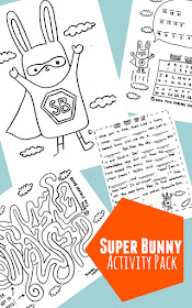 Super Bunny Activity Pack for Prek and K kids