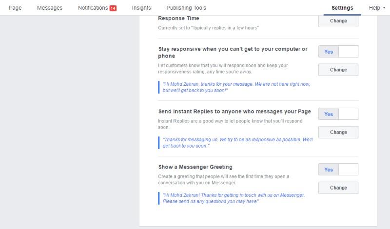 Cara Reply PM dan Komen Pelanggan Facebook Secara Automatik