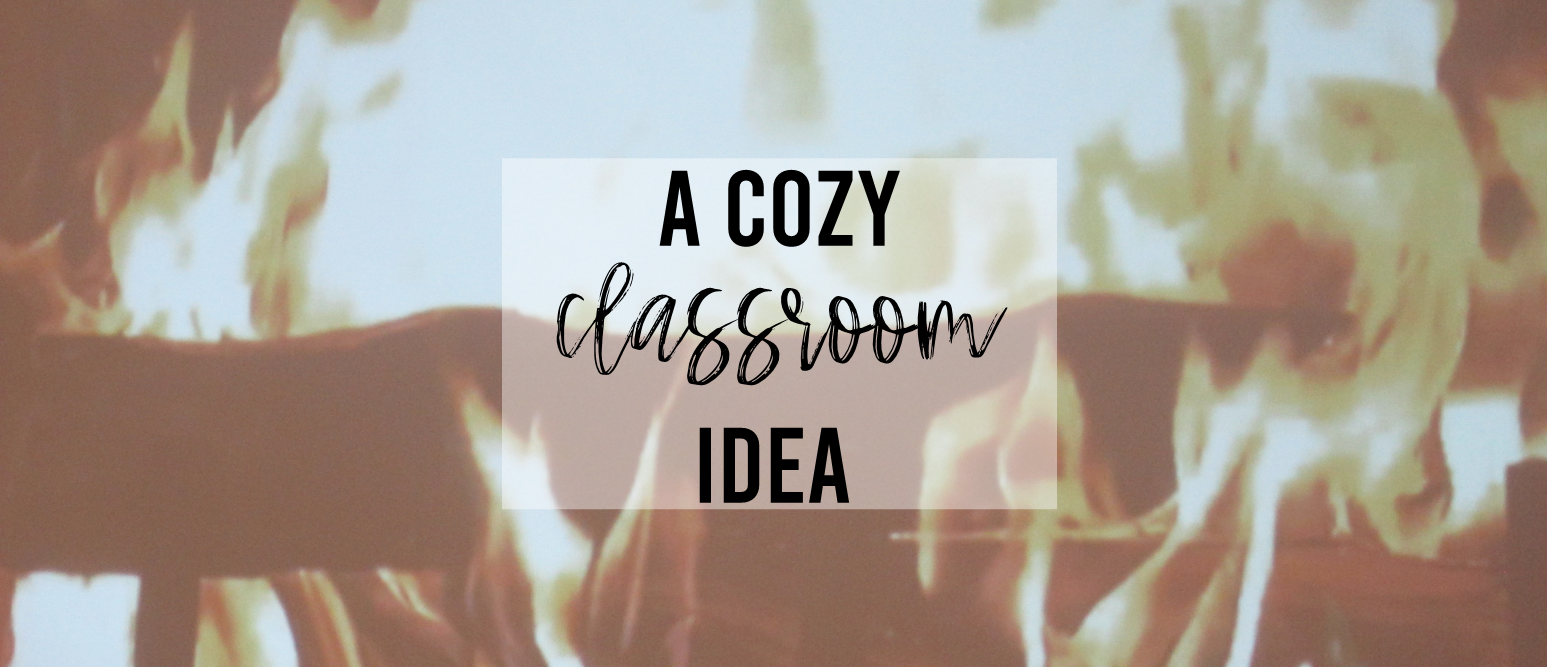 "Project a video of a burning fireplace in your classroom on a cold winter day to make the room ""warm"" and cozy! #winter #winterclassroom #classroom #classdecor #classroomideas"