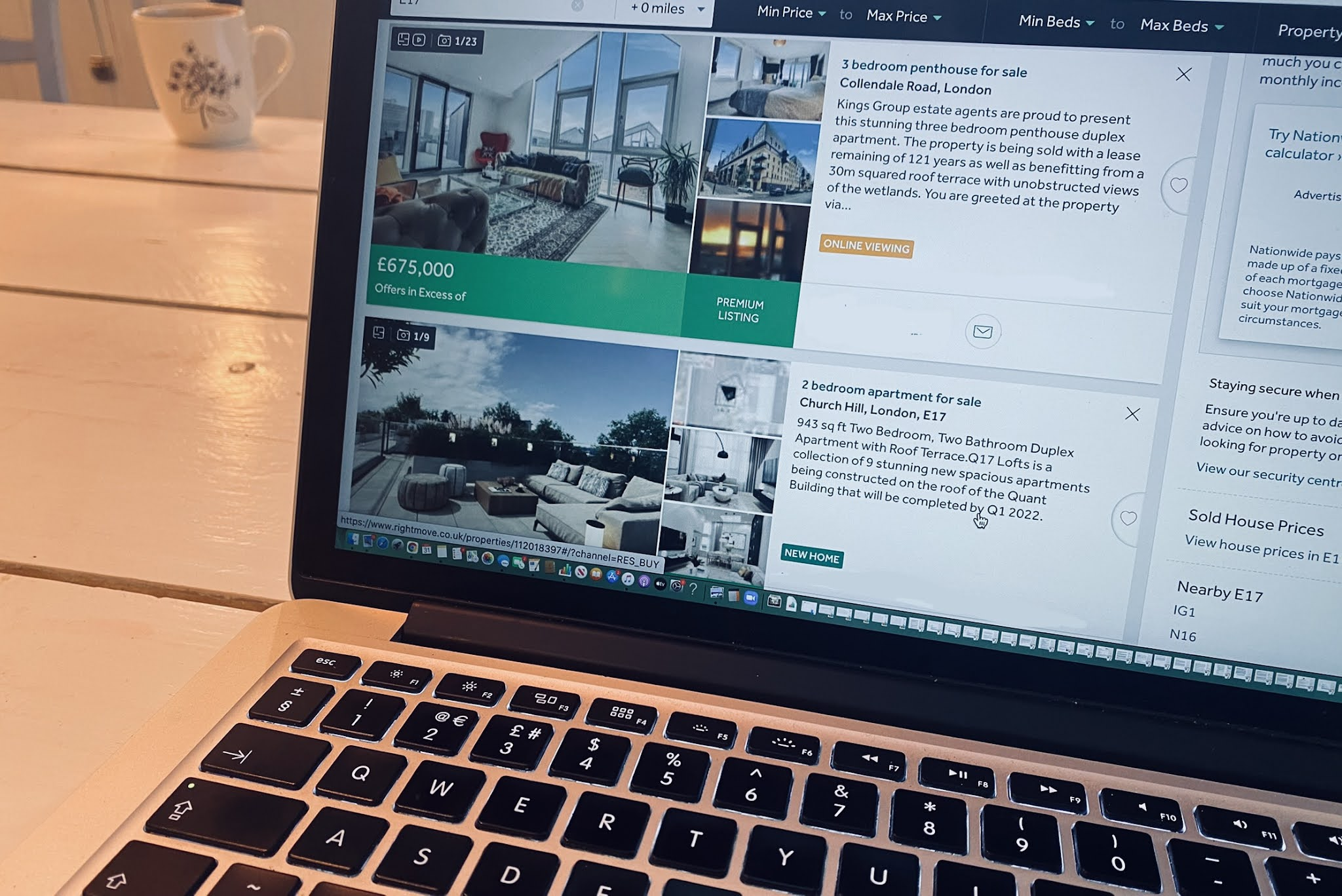 A lap top open to show a house hunting website to illustrate tips on choosing your first home.