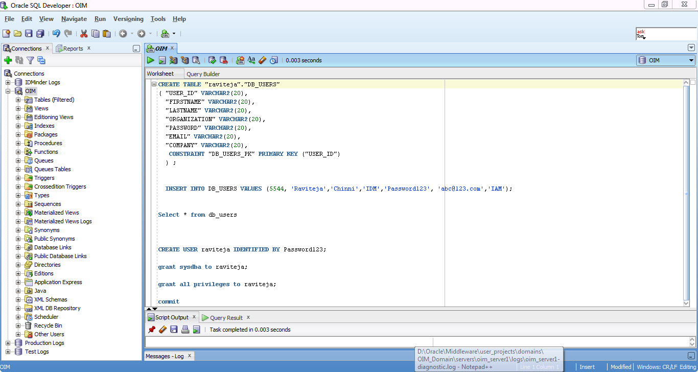 IAM IDM: OIM 11G R2 Lab 4: Provisioning User to Oracle Database