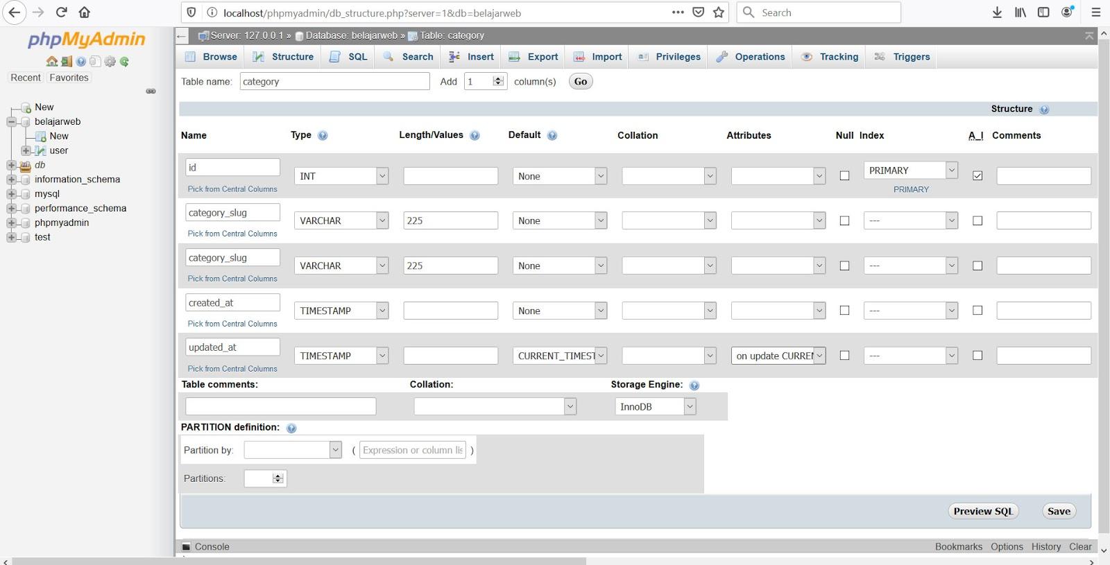 Tutorial membuat web dengan codeigniter - Membuat struktur database