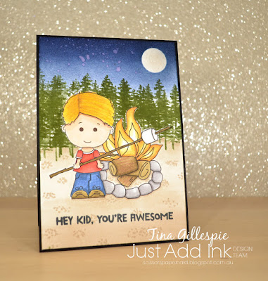 scissorspapercard, Stampin' Up!, Graphics Dollar, Just Add Ink, Linus Goes Camping, Waterfront, Treehouse Adventure, Stampin' Blends