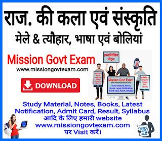 Rajasthan Culture Notes pdf