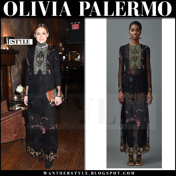 Olivia Palermo in black embroidered lace maxi dress valentino what she wore event outfit