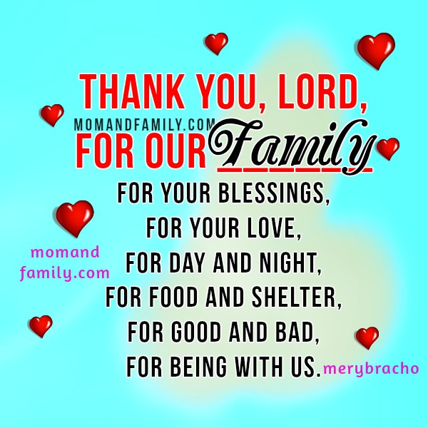 Short Family Prayer. Christian Quotes and Image about Family. Christian card for praying each day with children. Mom and family love quotes by Mery Bracho.