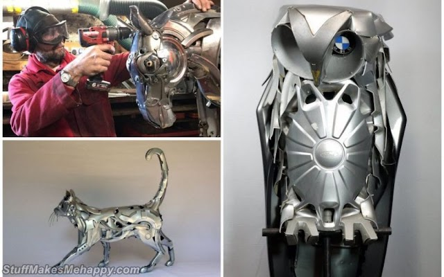 Sculptor Ptolemy Elrington Turns Old Car Hubcaps into Stunning Creatures