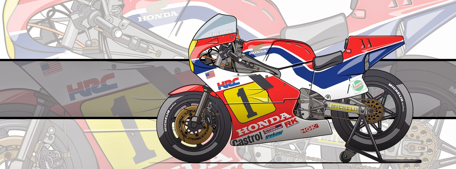 Racing Caf 232 Motorcycle Art Honda Nsr 500 Freddie