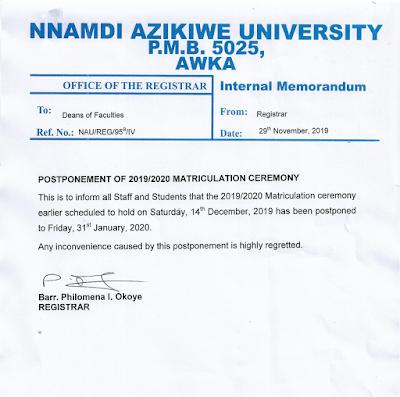 UNIZIK Matriculation Ceremony Schedule 2019/2020 [Postponed]