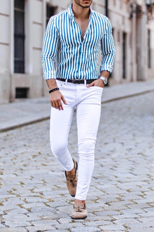 White jeans with stripe shirts.