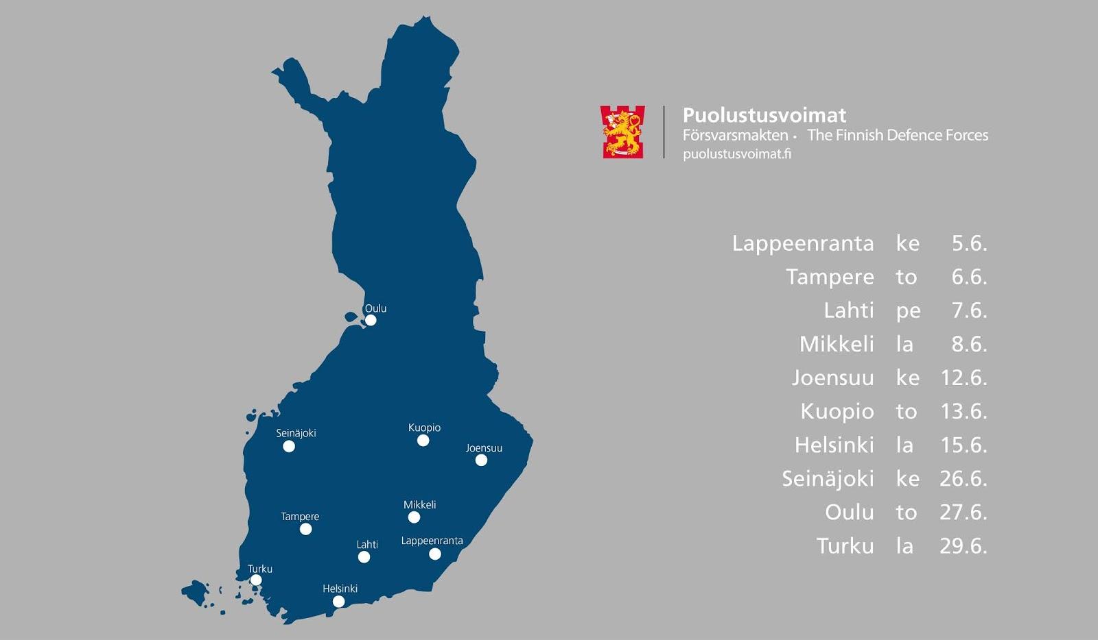 Puolustusvoimien kesäkiertue  Lappeenranta Tampere Lahti Mikkeli Joensuu Kuopio Helsinki Seinäjoki Oulu Turku