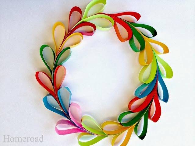 multi colored paper heart wreath
