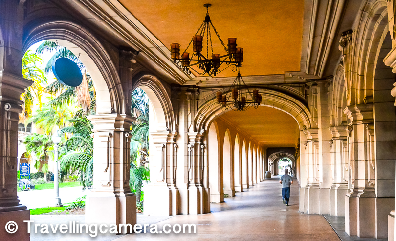 There are various historic buildings in Balboa park and many of these are being used as museums. Most of these buildings have walking paths, although most of the folks like to walk on the main road as vehicles are not allowed on these roads.