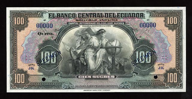 World currency money Ecuador Sucre banknotes bill