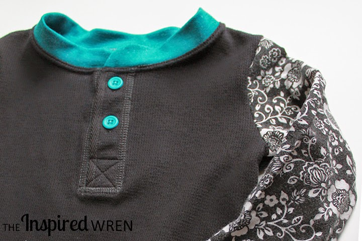 Upcycled Henley Tee + Sundress = Flashback Skinny Tee  -- Great pop of color on the collar and buttons | The Inspired Wren
