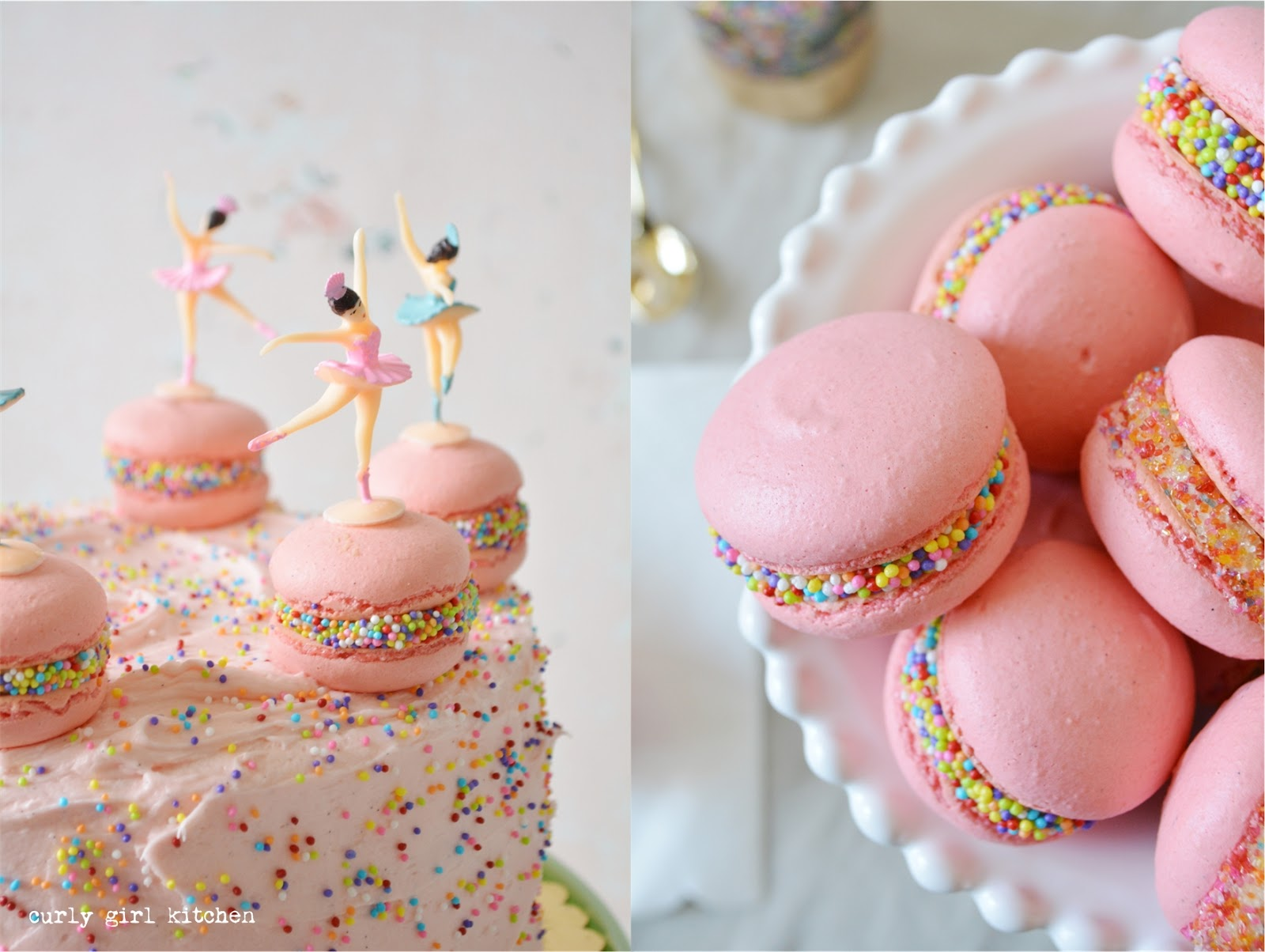 Curly Girl Kitchen: Pink Sprinkle Cake with Macarons