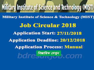 Military Institute of Science & Technology (MIST) Job Circular 2018
