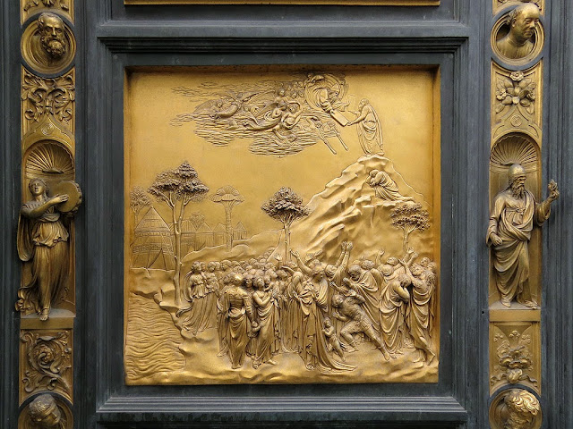 Moses, copy of the original bronze panel of the Gates of Paradise by Lorenzo Ghiberti, Baptistry of Saint John, Florence