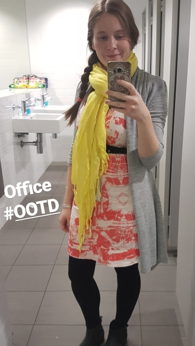 office winter business casual outfit orange sheath dress yellow love quotes linen scarf