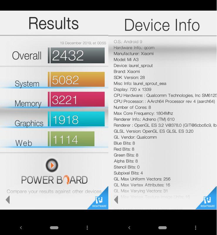 Benchmark Basemark OS II Xiaomi Mi A3