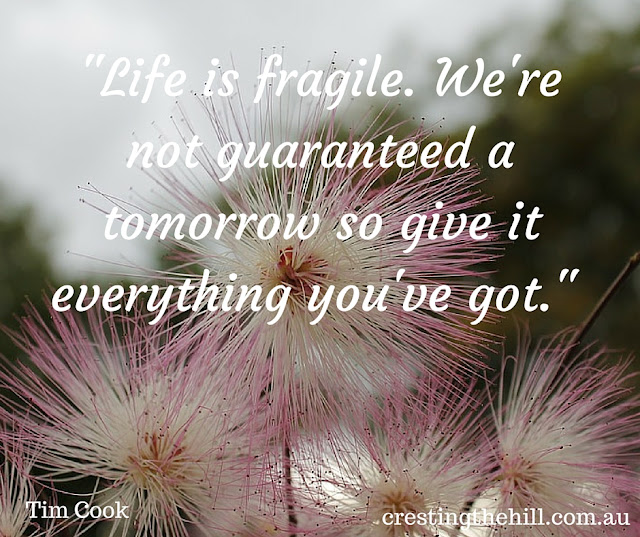 """Life is fragile. We're not guaranteed a tomorrow so give it everything you've got."" - Tim Cook"
