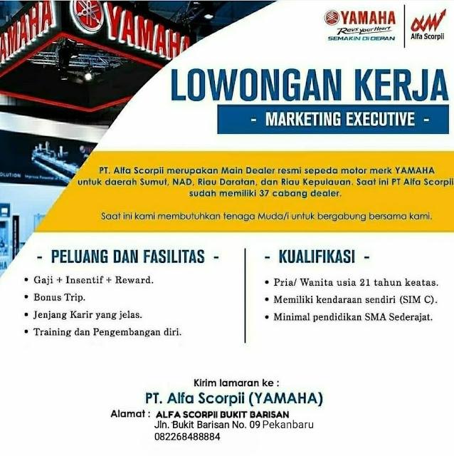 LOWONGAN KERJA Marketing Executive PT alfa Scorpii Yamaha