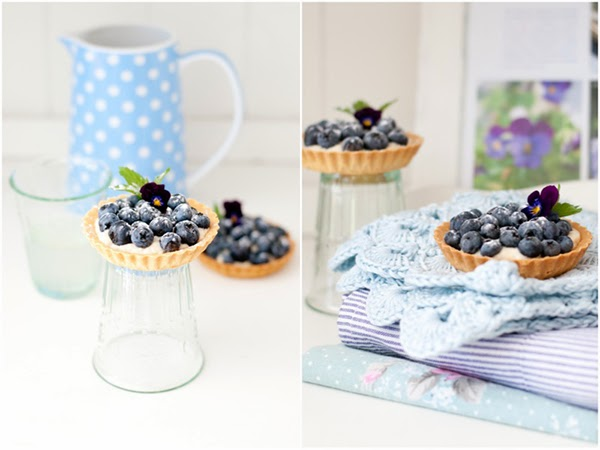 Blueberry tartlets and kitchen linens