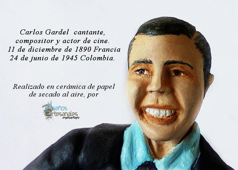 figura modelada a mano en arcilla de secado al aire, del cantante Carlos Gardel