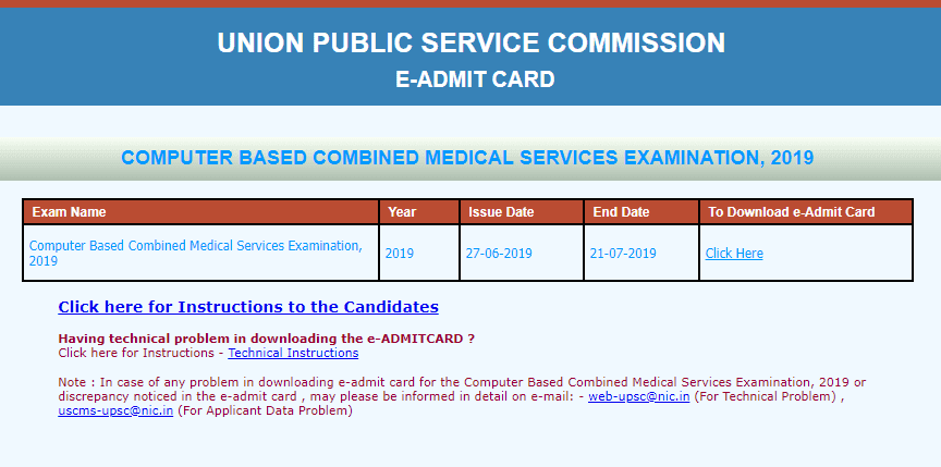 UPSC Combined Medical Service Exam 2019 Admit Card