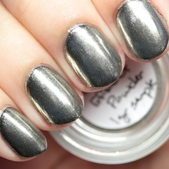 Girly Bits Cosmetics Mirror Chrome Effect Powder over black nail polish