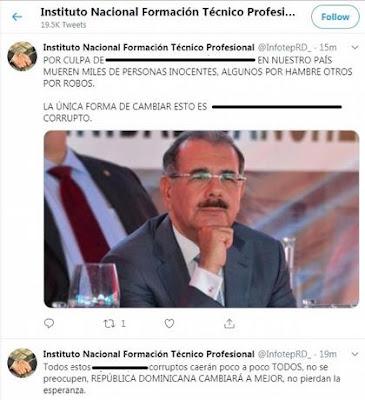 Hackearon la cuenta en Twitter de Infotep y publican mensajes sobre corrupción | @EntreJerez