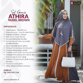 Koleksi Gamis Syari Muslimah Athira Tassel Brown Set Syari by AULIA Fashion