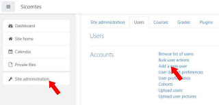 klik menu add a new user moodle