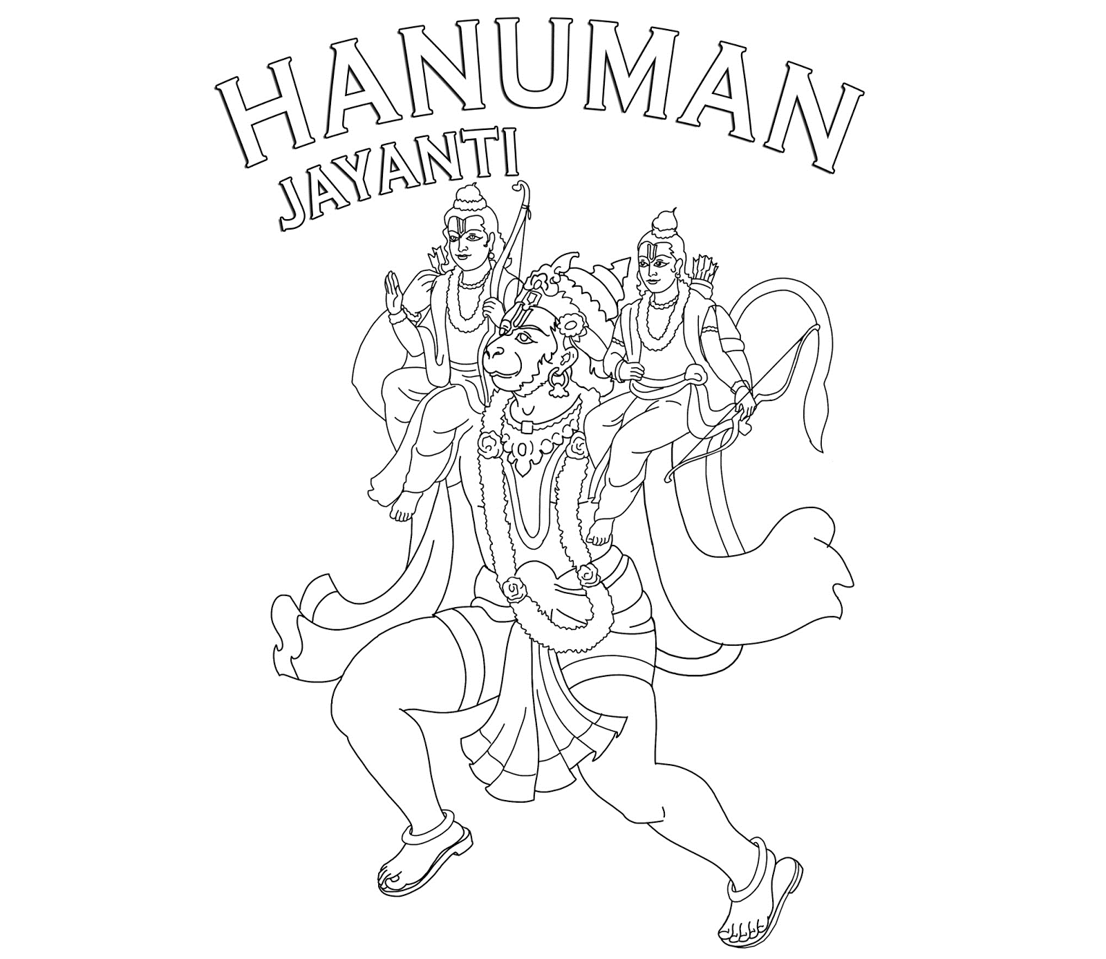 Simple Hanuman Coloring Pages