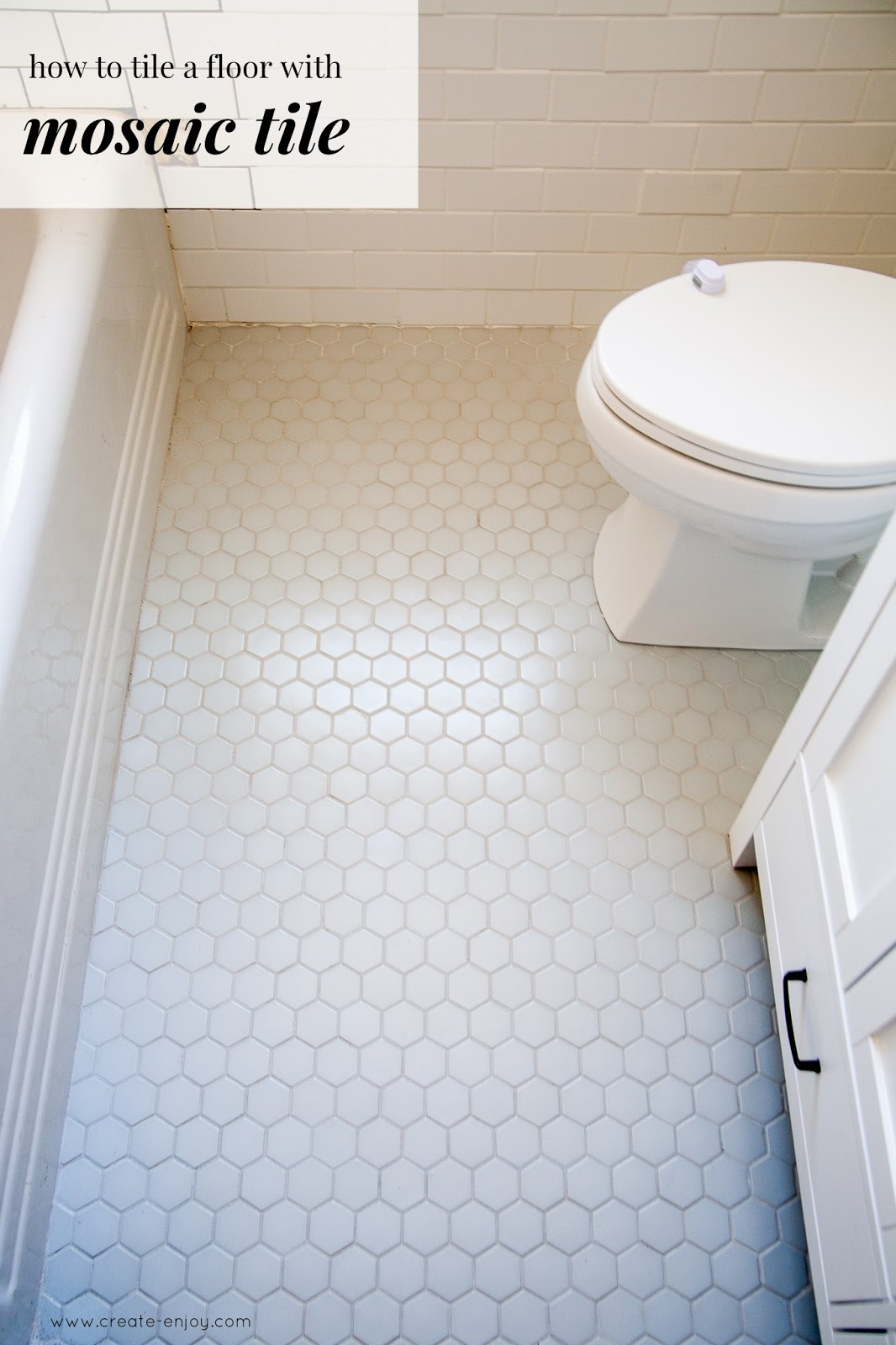 How To Lay Mosaic Tile Flooring Week 2 One Room Challenge Bathroom Reno With Hexagon Floor Create Enjoy
