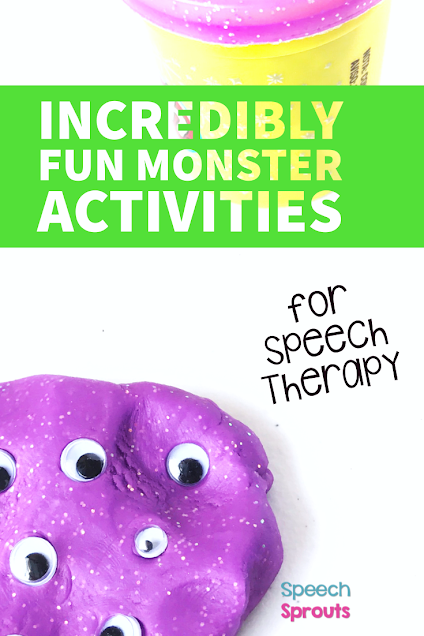A fun preschool monster theme activity for speech therapy. This purple playdough was squished flat, then numerous wiggle eyes were added for some monster fun!