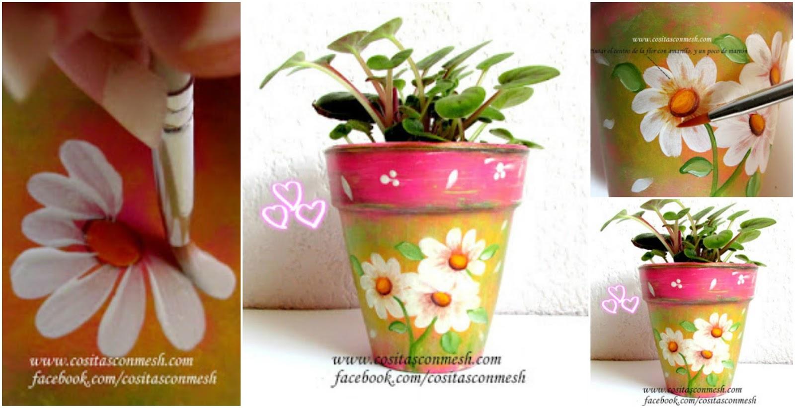 Flores pintadas en macetas paso a paso cositasconmesh - Como cuidar hortensias en maceta ...