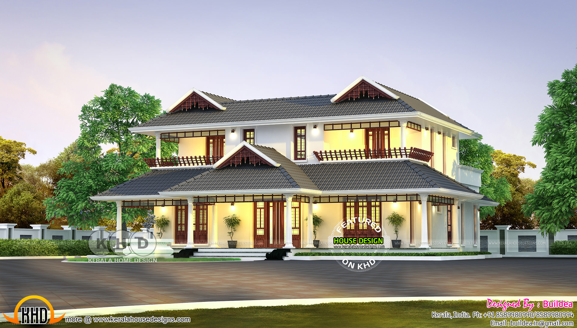 Traditional kerala model residence kerala home design for Traditional house plans in kerala