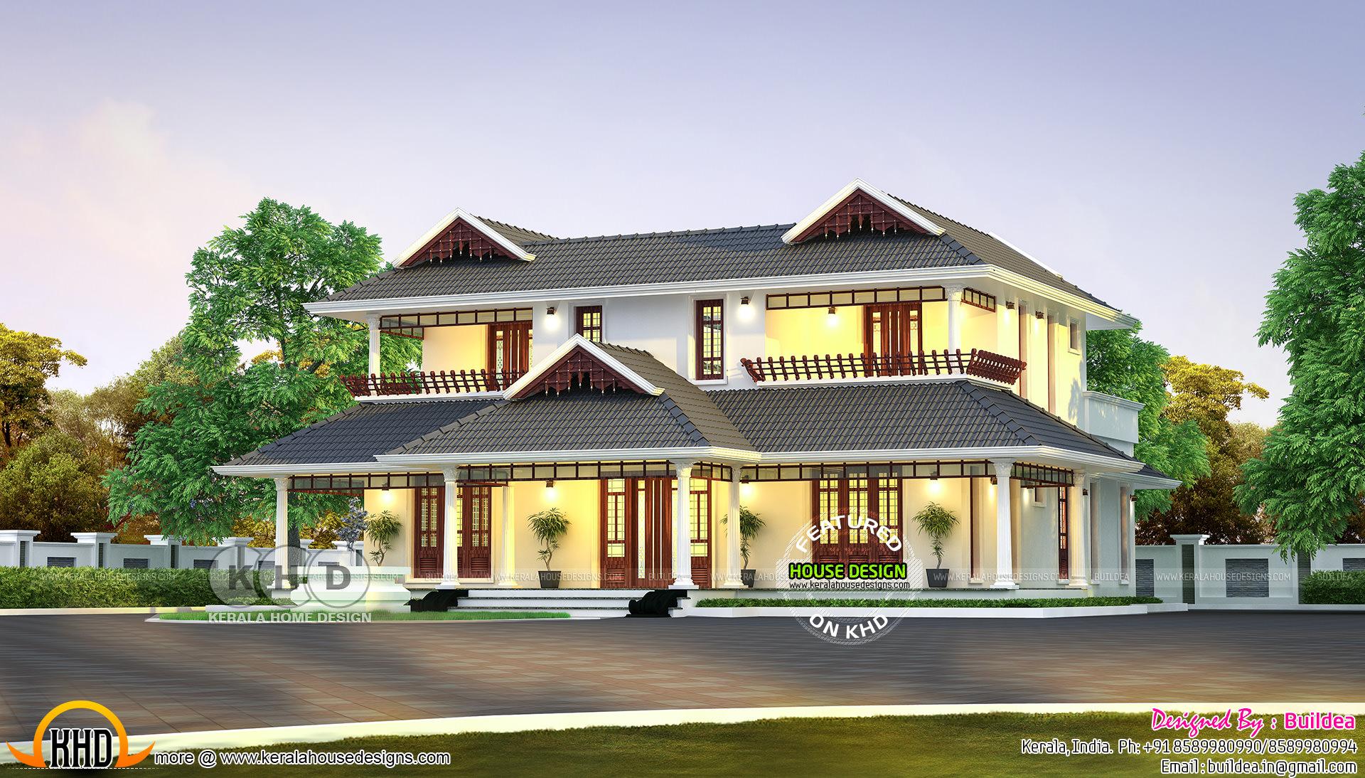 Traditional kerala model residence kerala home design for Traditional kerala house plans