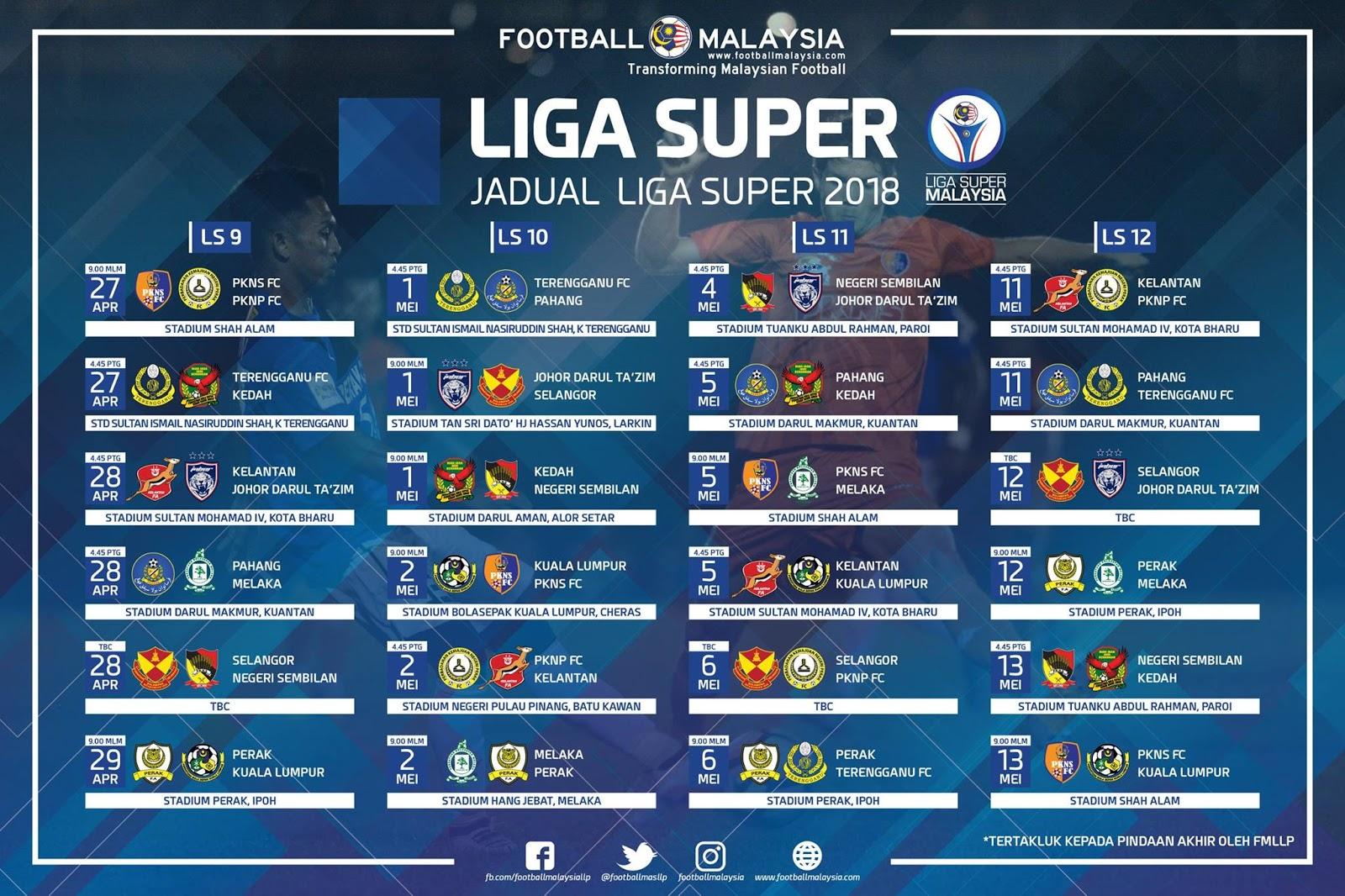 Jadual Perlawanan Liga Super Dan Liga Perdana Malaysia Musim 2018 Travel Eat Lifestyle Blog