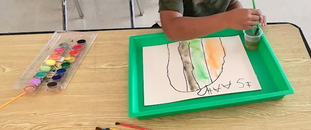 water coloring in Kindergarten