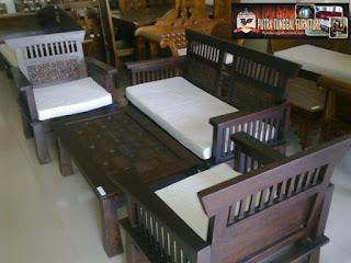 kursi tamu berkualitas terbuat dari bahan kayu jati tua