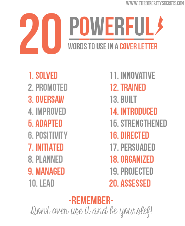 The Sorority Secrets 20 Powerful Words To Use In A Resume ...