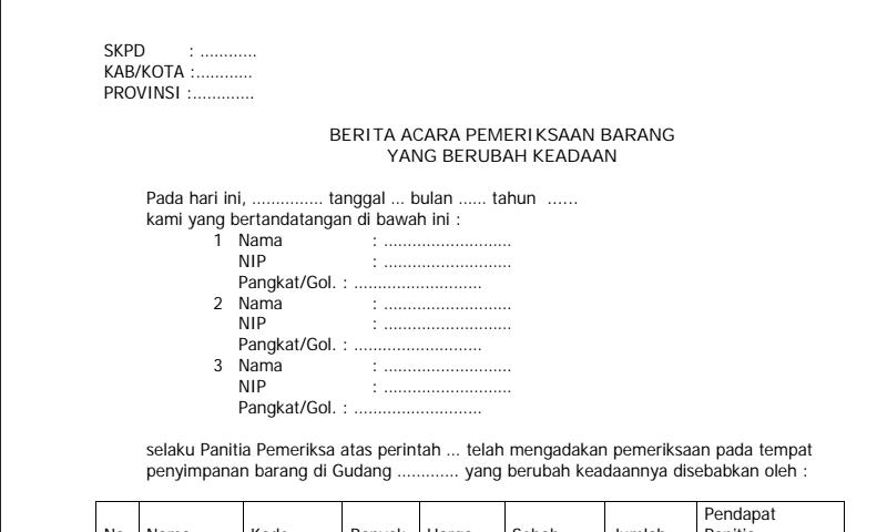 Contoh Bentuk Surat Berita Acara Pemeriksaan Barang Yang Dinamis dalam Pembuatan Laporan Inventaris Sekolah Terbaru