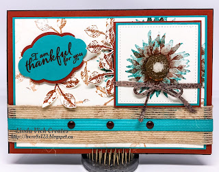 Linda Vich Creates: Thankful Painted Harvest. Bermuda Bay and Cajun Craze combine in this fall card using the Painted Harvest set.
