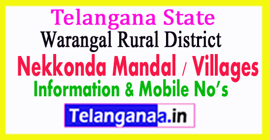 Nekkonda Mandal Villages in Warangal Rural District Telangana