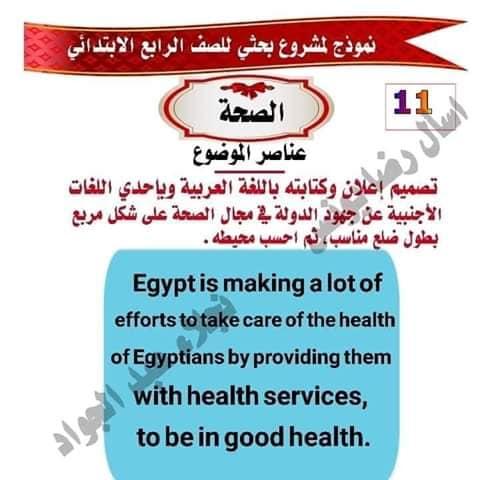 مشروع بحث عن الصحه للصف الرابع لميس نجلاء عبد الجواد 11