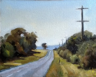 Landscape oil painting of a bitumen road leading off to the horizon bounded by telephone poles and vegetation.