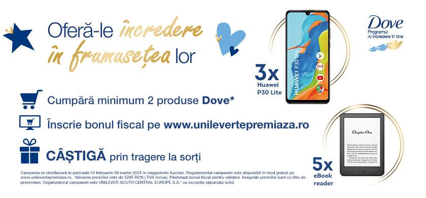 Concurs Auchan si Dove - Castiga 3 Telefoane Huawei P30 Lite - unilever - promotie - concursuri - online - castiga.net